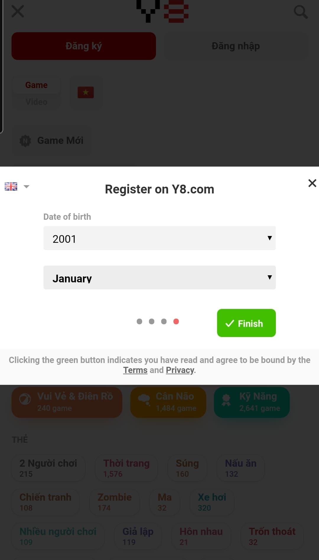 Lựa chọn giới tính, ngày tháng năm sinh của bạn. Sau đó bấm chọn FINISH để hoàn thành quá trình đăng ký tài khoản tại y8