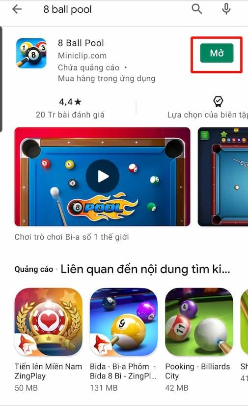 Bấm chọn MỞ để bắt đầu chơi game 8 ball pool trên hệ điều hành Android