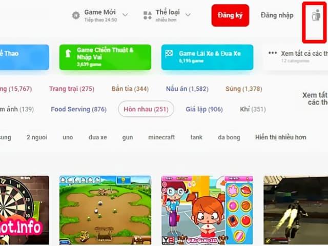 Nhấn vào biểu tượng trẻ em và phụ huynh ở góc bên phải phía trên giao diện game