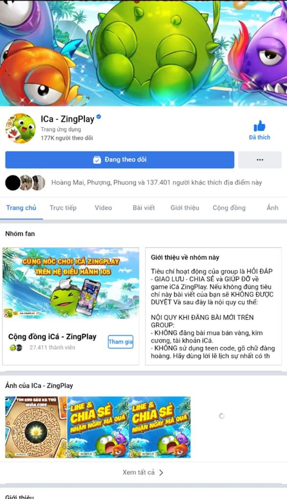 Fanpage của ica trên facebook