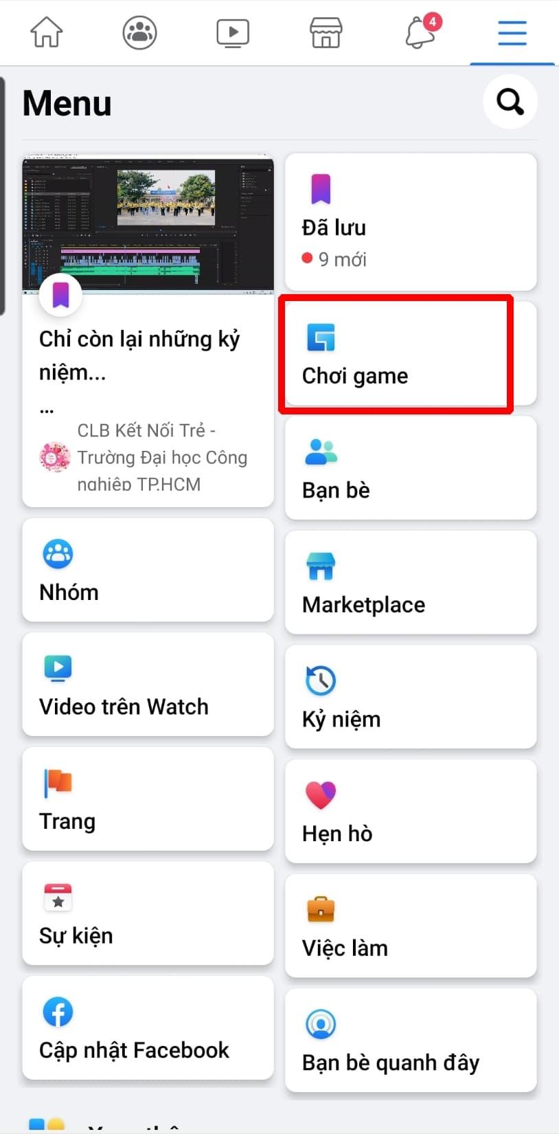 Cách chơi 8 ball pool trên facebook - Nhấn vào mục CHƠI GAME