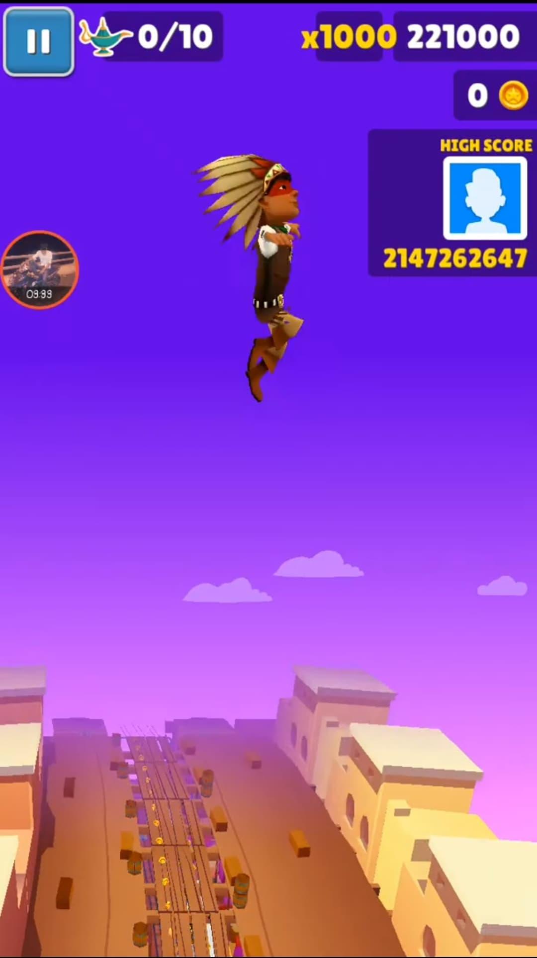 Nhân vật bay lên cao và tăng điểm nhanh chóng