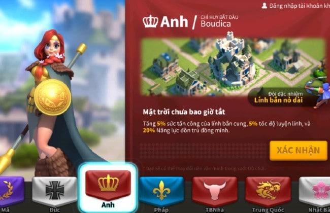 Nền văn minh Anh trong Rise of Kingdoms