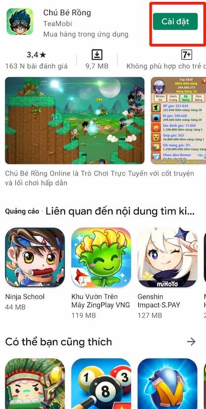 Bấm chọn CÀI ĐẶT để bắt đầu quá trình cài đặt game về điện thoại có hệ điều hành Android