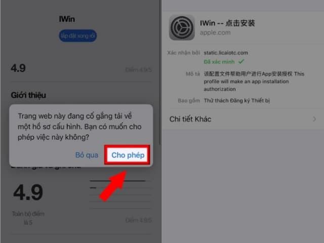 Bấm chọn CHO PHÉP để xác nhận tải app về điện thoại IOS/Android