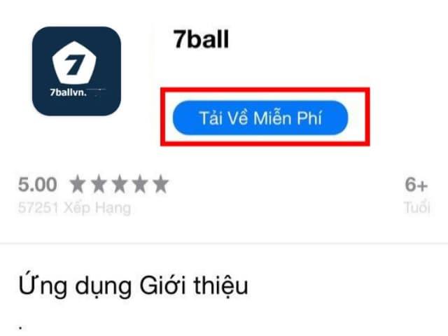Bấm chọn TẢI VỀ MIỄN PHÍ để bắt đầu quá trình cài đặt app 7ball về điện thoại hệ điều hành IOS