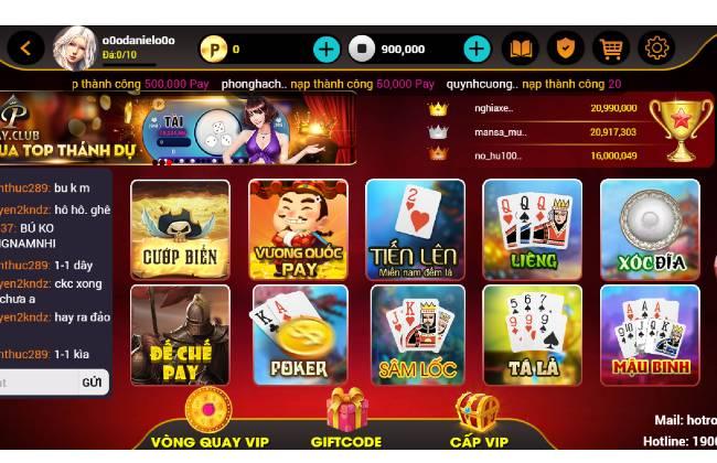 Các trò chơi đa dạng tại Pay club