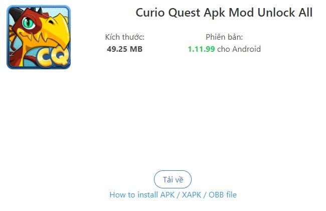 Hướng dẫn tải Curio Quest Hack về máy