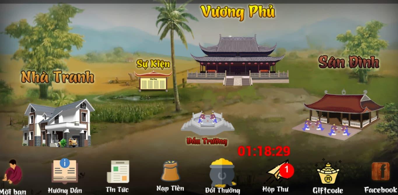 Màn hình giao diện của cổng game Chắn Vương đổi thưởng