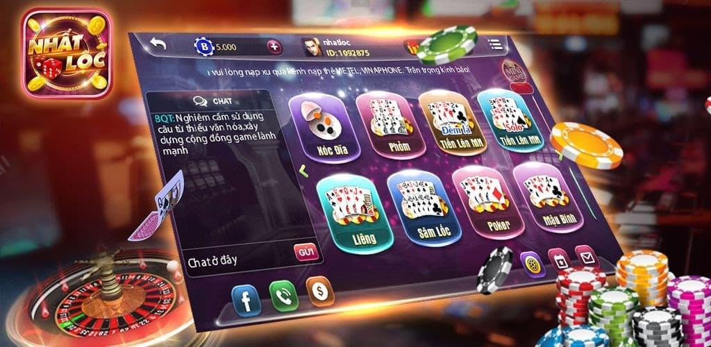 Giao diện màn hình của cổng game bài nhất lộc