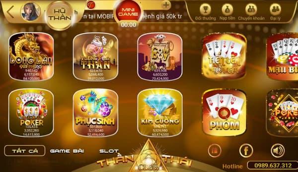 Kho game đa dạng với nhiều trò chơi hấp dẫn tại nhà cái uy tín Thần thái club