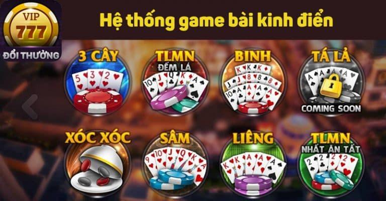 Đa dạng các trò chơi phong phú tại cổng game bài 777