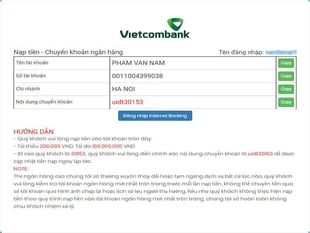 Chọn chữ ĐĂNG NHẬP INTERNET BANKING