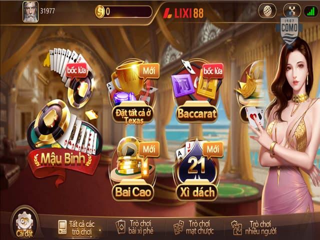 Một số tựa game có trong nhà cái uy tín Lixi88